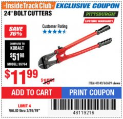 "Harbor Freight ITC Coupon 18"" BOLT CUTTERS Lot No. 41148/60683 Expired: 3/26/19 - $11.99"