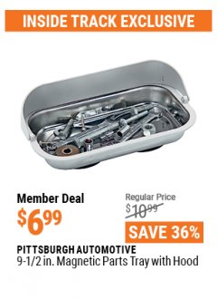 "Harbor Freight ITC Coupon 9-1/2"" MAGNETIC PARTS TRAY WITH HOOD Lot No. 97801 Valid Thru: 4/29/21 - $6.99"