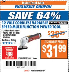 Harbor Freight ITC Coupon 12 VOLT LITHIUM-ION VARIABLE SPEED MULTIFUNCTION POWER TOOL Lot No. 67707/68012 Expired: 10/23/18 - $31.99