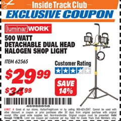 Harbor Freight ITC Coupon DETACHABLE DUAL HEAD HALOGEN SHOP LIGHT Lot No. 40123/62565 Expired: 11/30/18 - $29.99