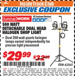 Harbor Freight ITC Coupon DETACHABLE DUAL HEAD HALOGEN SHOP LIGHT Lot No. 40123/62565 Expired: 4/30/19 - $29.99