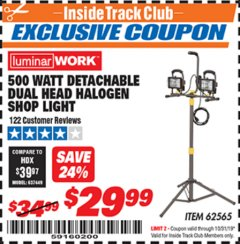 Harbor Freight ITC Coupon DETACHABLE DUAL HEAD HALOGEN SHOP LIGHT Lot No. 40123/62565 Expired: 10/31/19 - $29.99