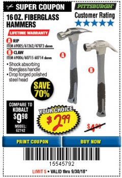 Harbor Freight Coupon 16 OZ. HAMMERS WITH FIBERGLASS HANDLE Lot No. 47872/69006/60715/60714/47873/69005/61262 Expired: 9/30/18 - $2.99