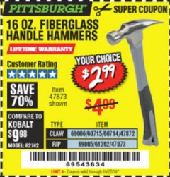 Harbor Freight Coupon 16 OZ. HAMMERS WITH FIBERGLASS HANDLE Lot No. 47872/69006/60715/60714/47873/69005/61262 Expired: 10/27/19 - $2.99