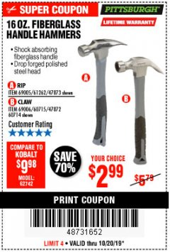 Harbor Freight Coupon 16 OZ. HAMMERS WITH FIBERGLASS HANDLE Lot No. 47872/69006/60715/60714/47873/69005/61262 Expired: 10/20/19 - $2.99