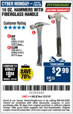 Harbor Freight Coupon 16 OZ. HAMMERS WITH FIBERGLASS HANDLE Lot No. 47872/69006/60715/60714/47873/69005/61262 Expired: 12/2/19 - $2.99