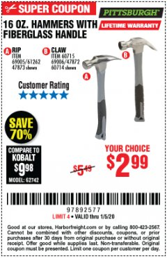 Harbor Freight Coupon 16 OZ. HAMMERS WITH FIBERGLASS HANDLE Lot No. 47872/69006/60715/60714/47873/69005/61262 Expired: 1/5/20 - $2.99