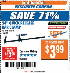 "Harbor Freight ITC Coupon 24"" QUICK RELEASE BAR CLAMP Lot No. 96213 Dates Valid: 10/1/18 - 10/23/18 - $3.99"