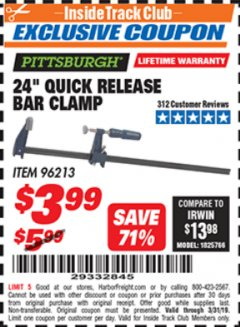 "Harbor Freight ITC Coupon 24"" QUICK RELEASE BAR CLAMP Lot No. 96213 Expired: 3/31/19 - $3.99"