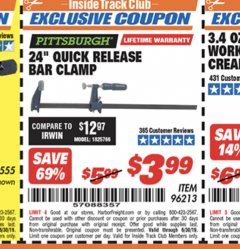 "Harbor Freight ITC Coupon 24"" QUICK RELEASE BAR CLAMP Lot No. 96213 Expired: 6/30/19 - $3.99"
