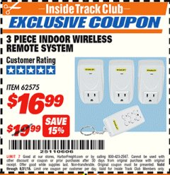 Harbor Freight ITC Coupon INDOOR WIRELESS REMOTE SYSTEM PACK OF 3 Lot No. 62575/68759 Expired: 8/31/18 - $16.99