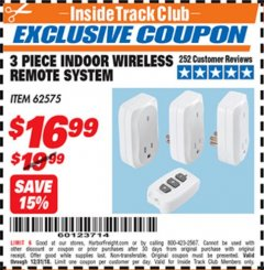 Harbor Freight ITC Coupon INDOOR WIRELESS REMOTE SYSTEM PACK OF 3 Lot No. 62575/68759 Expired: 12/31/18 - $16.99