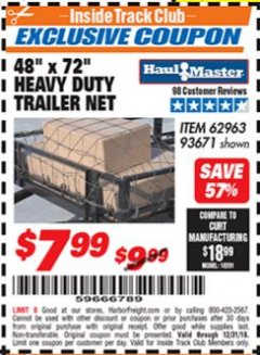 "Harbor Freight ITC Coupon 48"" X 72"" HEAVY DUTY TRAILER NET Lot No. 93671/62963 Valid Thru: 12/31/18 - $7.99"