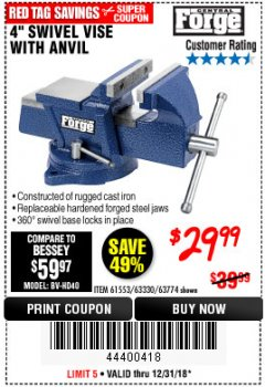"Harbor Freight Coupon 4"" SWIVEL VISE WITH ANVIL Lot No. 61553/67035 Expired: 12/31/18 - $29.99"