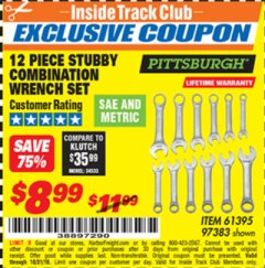Harbor Freight ITC Coupon 12 PIECE SAE AND METRIC STUBBY COMBINATION WRENCH SET Lot No. 61395/97383 Expired: 10/31/18 - $8.99