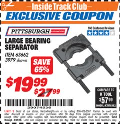 Harbor Freight ITC Coupon LARGE BEARING SEPARATOR Lot No. 3979 Expired: 3/31/19 - $19.99