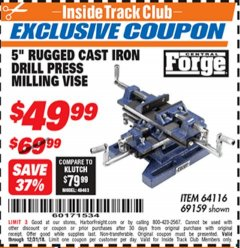 "Harbor Freight ITC Coupon 5"" RUGGED CAST IRON DRILL PRESS MILLING VISE Lot No. 69159/94276 Expired: 12/31/18 - $49.99"