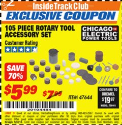 Harbor Freight ITC Coupon 105 PIECE ROTARY TOOL ACCESSORY SET Lot No. 47644 Expired: 9/30/18 - $5.99