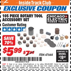 Harbor Freight ITC Coupon 105 PIECE ROTARY TOOL ACCESSORY SET Lot No. 47644 Expired: 10/30/18 - $5.99