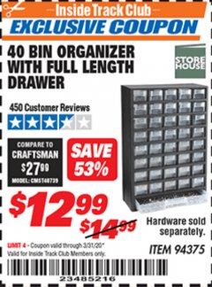 Harbor Freight ITC Coupon 40 BIN ORGANIZER WITH FULL LENGTH DRAWER Lot No. 94375 Expired: 3/31/20 - $12.99