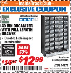 Harbor Freight ITC Coupon 40 BIN ORGANIZER WITH FULL LENGTH DRAWER Lot No. 94375 Valid Thru: 6/30/20 - $12.99