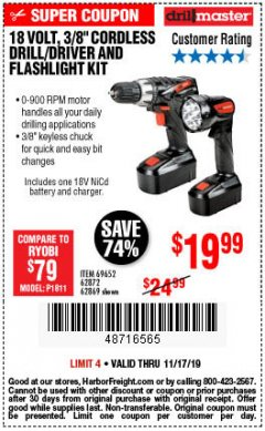 "Harbor Freight Coupon 18 VOLT CORDLESS 3/8"" DRILL/DRIVER AND FLASHLIGHT KIT Lot No. 68287/69652/62869/62872 Expired: 11/17/19 - $19.99"