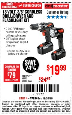 "Harbor Freight Coupon 18 VOLT CORDLESS 3/8"" DRILL/DRIVER AND FLASHLIGHT KIT Lot No. 68287/69652/62869/62872 Expired: 12/26/19 - $19.99"