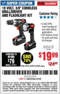 "Harbor Freight Coupon 18 VOLT CORDLESS 3/8"" DRILL/DRIVER AND FLASHLIGHT KIT Lot No. 68287/69652/62869/62872 Expired: 2/2/20 - $19.99"