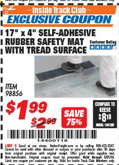 "Harbor Freight ITC Coupon 17"" x 4"" SELF-ADHESIVE RUBBER SAFETY ,AT WITH TREAD SURFACE Lot No. 98856 Expired: 5/31/18 - $1.99"