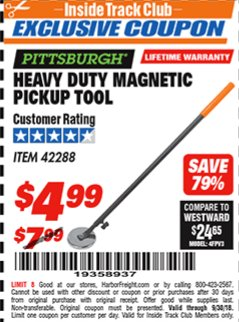 Harbor Freight ITC Coupon HEAVY DUTY MAGNETIC PICKUP TOOL Lot No. 42288 Expired: 9/30/18 - $4.99