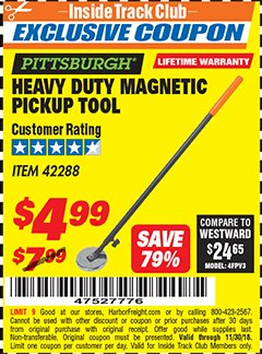 Harbor Freight ITC Coupon HEAVY DUTY MAGNETIC PICKUP TOOL Lot No. 42288 Expired: 11/30/18 - $4.99