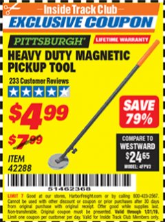 Harbor Freight ITC Coupon HEAVY DUTY MAGNETIC PICKUP TOOL Lot No. 42288 Expired: 1/31/19 - $4.99