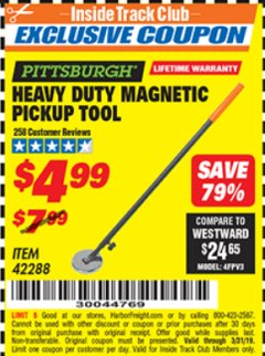 Harbor Freight ITC Coupon HEAVY DUTY MAGNETIC PICKUP TOOL Lot No. 42288 Valid Thru: 3/31/19 - $4.99