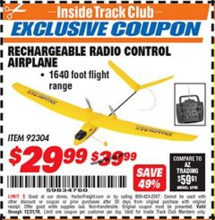 Harbor Freight ITC Coupon RECHARGEABLE RADIO CONTROL AIRPLANE Lot No. 92304 Valid Thru: 12/31/18 - $29.99
