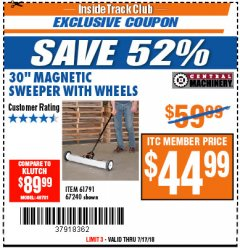 "Harbor Freight ITC Coupon 30"" MAGNETIC SWEEPER WITH WHEELS Lot No. 93245 Expired: 7/31/18 - $44.9"