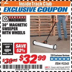 "Harbor Freight ITC Coupon 30"" MAGNETIC SWEEPER WITH WHEELS Lot No. 93245 Valid Thru: 9/30/19 - $32.99"