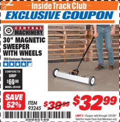 "Harbor Freight ITC Coupon 30"" MAGNETIC SWEEPER WITH WHEELS Lot No. 93245 Expired: 1/31/20 - $32.99"