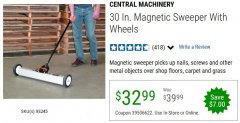 "Harbor Freight Coupon 30"" MAGNETIC SWEEPER WITH WHEELS Lot No. 93245 Valid Thru: 6/30/20 - $32.99"
