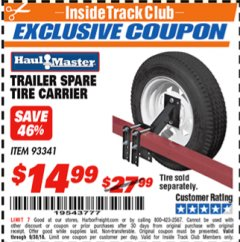 Harbor Freight ITC Coupon TRAILER SPARE TIRE CARRIER Lot No. 93341 Expired: 9/30/18 - $14.99