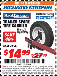 Harbor Freight ITC Coupon TRAILER SPARE TIRE CARRIER Lot No. 93341 Expired: 10/31/18 - $14.99
