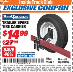 Harbor Freight ITC Coupon TRAILER SPARE TIRE CARRIER Lot No. 93341 Expired: 4/30/19 - $14.99