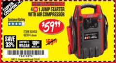 Harbor Freight Coupon 4-IN-1 JUMP STARTER WITH AIR COMPRESSOR Lot No. 60666/69401/62374/62453 Expired: 7/24/18 - $59.99