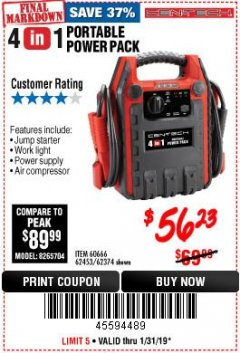 Harbor Freight Coupon 4-IN-1 JUMP STARTER WITH AIR COMPRESSOR Lot No. 60666/69401/62374/62453 Valid Thru: 1/31/19 - $56.23