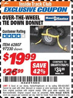 Harbor Freight ITC Coupon OVER-THE-WHEEL TIE DOWN BONNET Lot No. 97230/62807 Expired: 6/30/18 - $19.99
