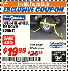Harbor Freight ITC Coupon OVER-THE-WHEEL TIE DOWN BONNET Lot No. 97230/62807 Expired: 8/31/18 - $19.99