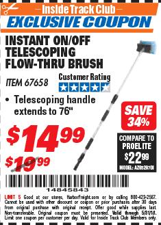 Harbor Freight ITC Coupon TELESCOPING FLOW-THRU BRUSH Lot No. 67658 Expired: 5/31/18 - $14.99