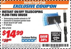 Harbor Freight ITC Coupon TELESCOPING FLOW-THRU BRUSH Lot No. 67658 Expired: 6/30/18 - $14.99