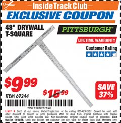 "Harbor Freight ITC Coupon 48"" DRYWALL T-SQUARE Lot No. 69244 Expired: 11/30/18 - $9.99"