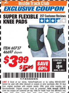 Harbor Freight ITC Coupon SUPER FLEXIBLE KNEE PADS Lot No. 46697/60737 Dates Valid: 12/31/69 - 2/28/19 - $3.99