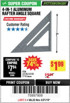 Harbor Freight Coupon 4-IN-1 ALUMINUM RAFTER ANGLE SQUARE Lot No. 7718/63140/63185 Expired: 4/21/19 - $1.99